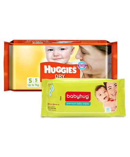 Huggies Dry Taped Diapers Small Size - 5 Pieces	& Babyhug Premium Baby Wipes - 80 Pieces