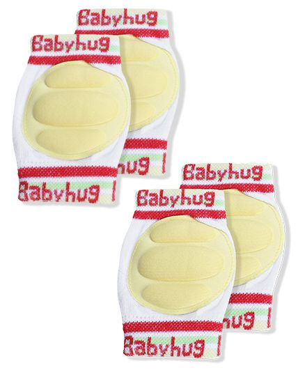Babyhug Knee Protection Pads - White & Yellow Pack Of 2