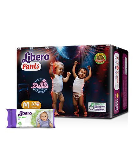 Libero Pant Style Diapers Medium - 20 Pieces & Libero Baby Wet Wipes - 80 Pieces