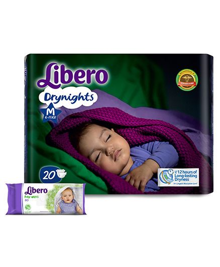 Libero Drynights Diapers Medium - 20 Pieces & Libero Baby Wet Wipes - 80 Pieces