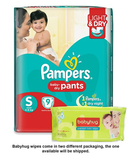 Flat 50% Off + 6% Mobikiwik Cash On Pampers By Firstcry | Pampers Pant Style Diapers Light And Dry Small - 9 Pieces & Babyhug Premium Baby Wipes - 80 Pieces @ Rs.122