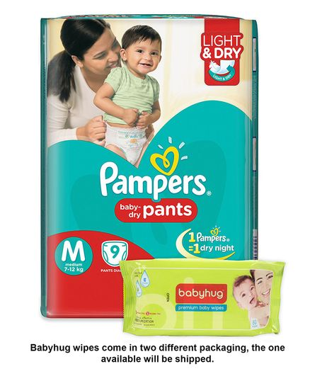 Pampers Pant Style Diapers Light And Dry Medium - 9 Pieces & Babyhug Premium Baby Wipes - 80 Pieces