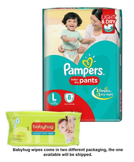 Pampers Pant Style Diapers Light And Dry Large - 8 Pieces & Babyhug Premium Baby Wipes - 80 Pieces
