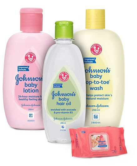 Johnson's baby Hair Oil - 200 ml and Johnson's baby Top to Toe Wash - 200 ml and 	Johnson's baby Lotion - 200 ml and Johnson's baby Skincare Wipes - 80 Pieces