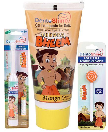 Dentoshine Chhota Bheem Gel Toothpaste For Kids - Mango Flavour and Dentoshine Chhota Bheem Sonic Power Tooth Brush - White and Dentioshine Chhota Bheem Lollipop Tongue Cleaner - Orange And White