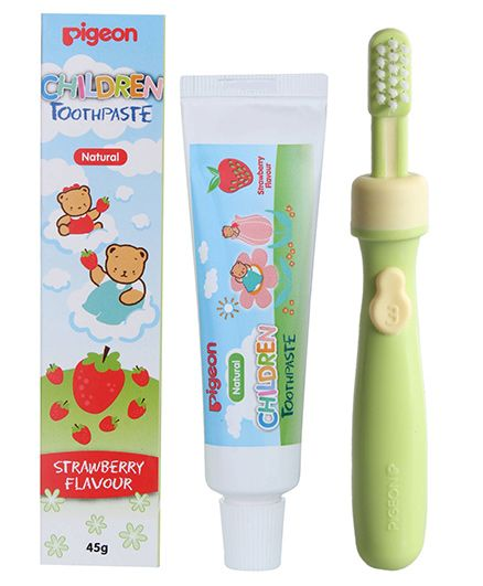 Pigeon Strawberry Flavoured Children Toothpaste - 45 gm and Pigeon - Baby Training Toothbrush - Lesson 3