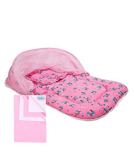 Morisons Baby Dreams Mosquito Net Bed Bee Theme - Pink and Babyhug Smart Dry Bed Protecting Sheet Pink - Small