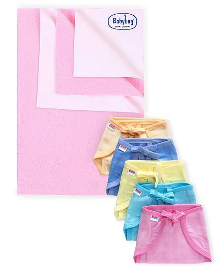Babyhug Smart Dry Bed Protecting Sheet Pink - Small & Babyhug U Shape Muslin Nappy Set Lace Small Pack Of 5 - Multicolor