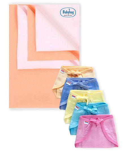 Babyhug Smart Dry Bed Protecting Sheet Peach - Small & Babyhug U Shape Muslin Nappy Set Lace Small Pack Of 5 - Multicolor