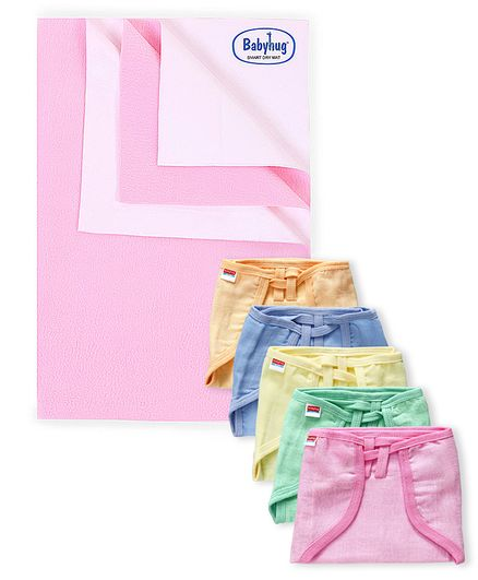 Babyhug Smart Dry Bed Protecting Sheet Pink - Medium & Babyhug U Shape Muslin Nappy Set Lace Medium Pack Of 5 - Multicolor