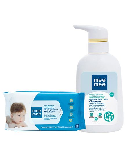 Mee Mee Caring Baby Wet Wipes With Lemon Fragrance - 72 Pieces & Mee Mee Baby Accessories And Vegetable Liquid Cleanser - 300 ml