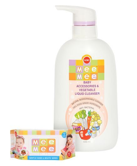 Mee Mee Hand and Mouth Baby Wipes 80 Pieces & Mee Mee Baby Accessories and Vegetable Liquid Cleanser - 500 ml