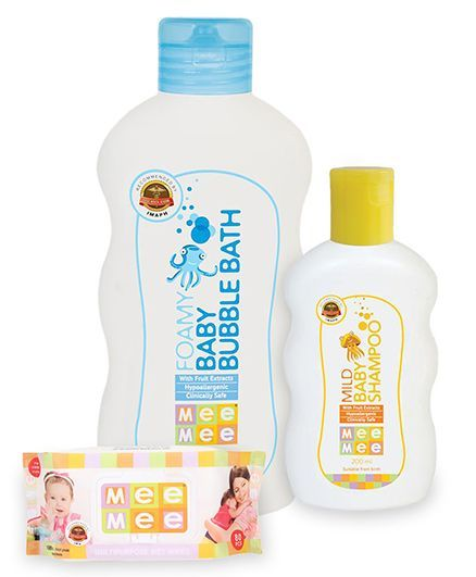 Mee Mee Multipurpose Wet Wipes - 80 Pieces AND Mee Mee - Mild Baby ShampooAND Mee Mee - Foamy Baby Bubble Bath