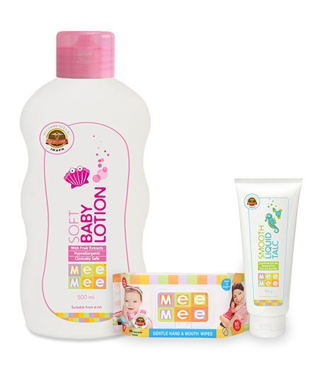 Mee Mee - Smooth Liquid Talc AND Mee Mee Soft Baby Lotion - Capacity 500 ml	AND Mee Mee Hand and Mouth Baby Wipes 80 Pieces