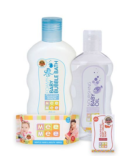 Mee Mee Hand and Mouth Baby Wipes 80 Pieces AND Mee Mee Nourishing Baby Wellness Soap AND Mee Mee - Foamy Baby Bubble BathAND Mee Mee - Nourishing Baby Oil
