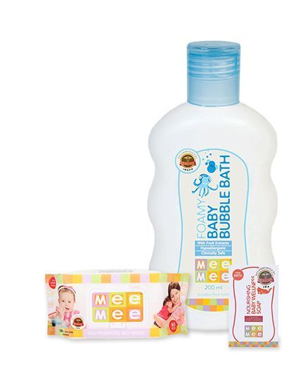 Mee Mee Multipurpose Wet Wipes - 80 Pieces AND Mee Mee - Foamy Baby Bubble Bath AND Mee Mee Nourishing Baby Wellness Soap