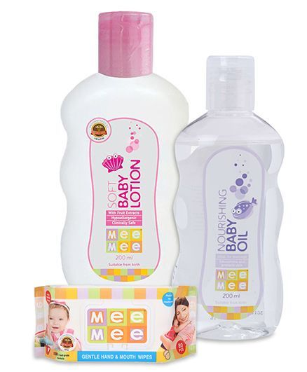 Mee Mee Hand and Mouth Baby Wipes 80 Pieces AND Mee Mee - Soft Body LotionAND Mee Mee - Nourishing Baby Oil
