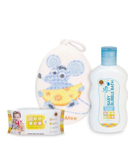 Mee Mee Caring Baby Wet Wipes With Lemon Fragrance - 72 Pieces AND Mee Mee - Foamy Baby Bubble Bath AND Mee Mee Bath Sponge Mouse Print- Blue