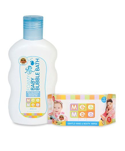Mee Mee Hand and Mouth Baby Wipes 80 Pieces AND Mee Mee - Foamy Baby Bubble Bath