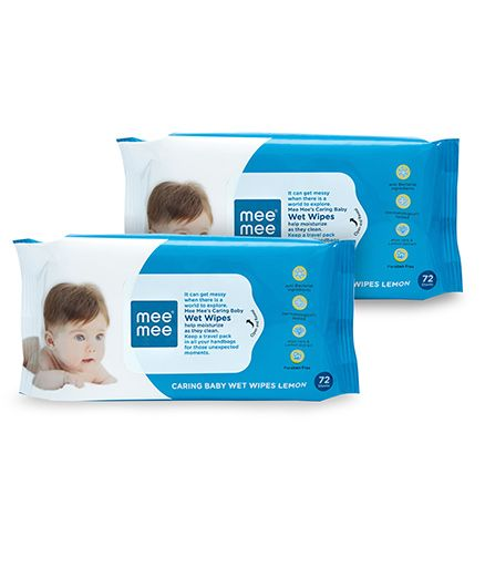 Mee Mee Caring Baby Wet Wipes With Lemon Fragrance - 72 Pieces, Pack of 2.