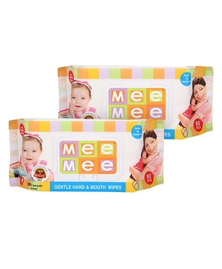 Mee Mee Hand and Mouth Baby Wipes 80 Pieces, Pack of 2