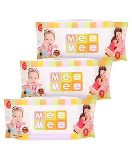 Mee Mee Multipurpose Wet Wipes - 80 Pieces, Pack of 3