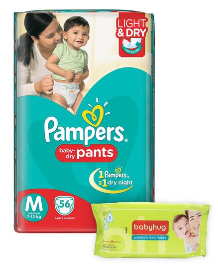 Pampers Pant Style Diapers Light And Dry Medium - 56 Pieces & Babyhug Premium Baby Wipes - 80 Pieces