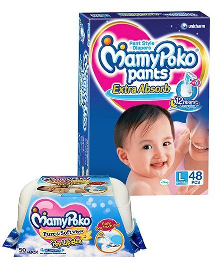 Mamy Poko Extra Absorb Pant Style Diapers Large - 48 Pieces & Mamy Poko Pure & Soft Baby Wipes With Pop Up Box & No Fragrance- 50 Pieces