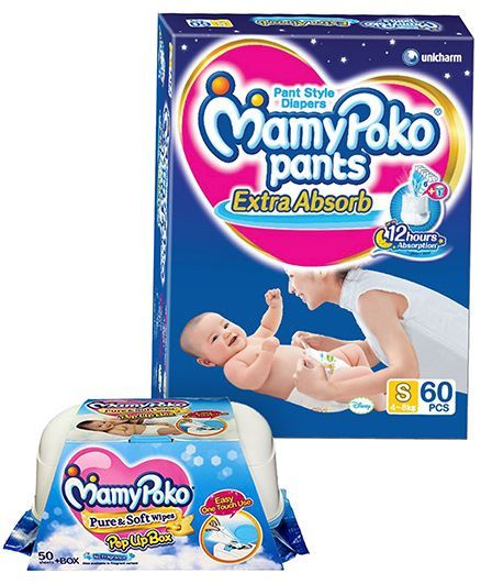 Mamy Poko Extra Absorb Pant Style Diapers Small - 60 Pieces & Mamy Poko Pure & Soft Baby Wipes With Pop Up Box & No Fragrance- 50 Pieces