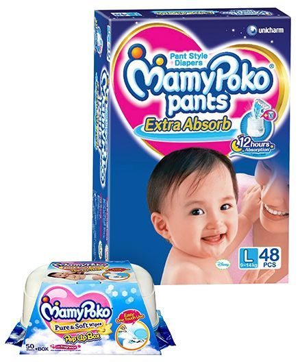 Mamy Poko Extra Absorb Pant Style Diapers Large - 48 Pieces & Mamy Poko Pure & Soft Baby Wipes With Pop Up Box & Mild Fragrance- 50 Pieces