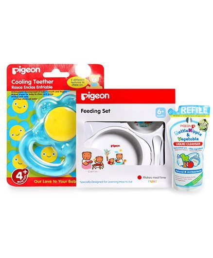 Pigeon Bottle Nipple and Vegetable Liquid Cleanser Refill Pack - 700 ml and Pigeon - Feeding Set and Pigeon - Cooling Teether