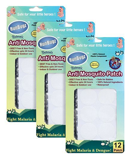 Runbugz Anti Mosquito Patches Plain White - 12 Patches pack of 3