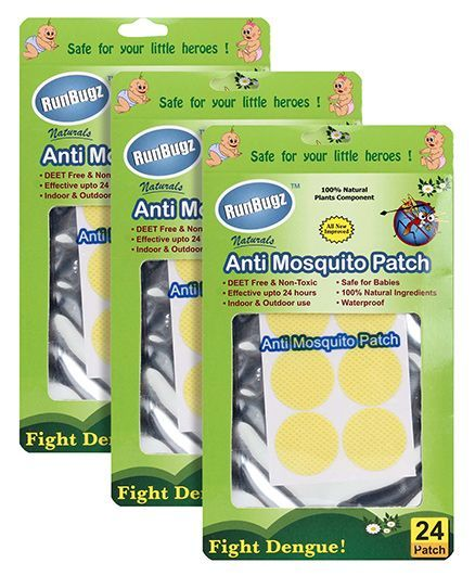Runbugz Anti Mosquito Patches Plain Yellow - 24 Patches Pack of 5