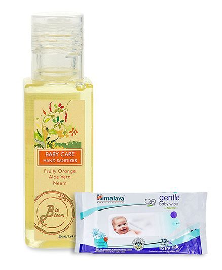 BioBloom Baby Care Hand Sanitizer - 50 ml and Himalaya Herbal Gentle Baby Wipes 72 Pieces