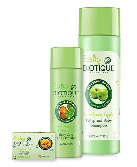 Biotique Bio Green Apple Tearproof Baby Shampoo - 190 ml and 	Biotique Bio Almond Oil Nourishing Soap - 100 gm and Biotique Bio Basil And Red Sandalwood Baby Caress Body Powder - 100 gm