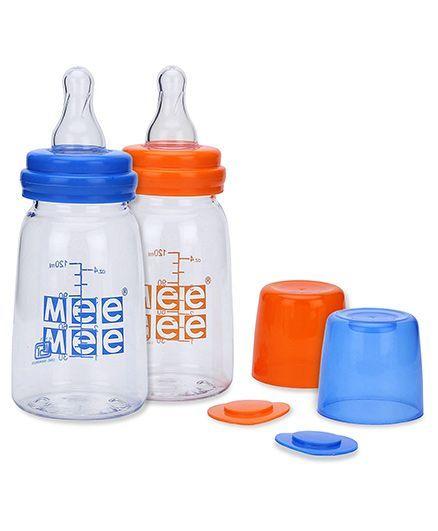 Mee Mee Premium Feeding Bottle  - 120 ml-Pack of 2(Blue, Orange)
