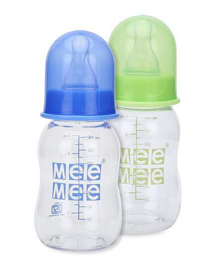 Mee Mee Plastic Premium Feeding Bottle - 140 ml- Pack of 2(Green, Blue)
