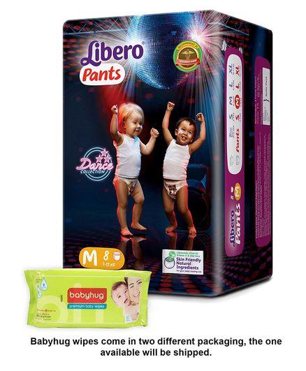 Libero Pant Style Diapers Medium - 8 Pieces & Babyhug Premium Baby Wipes - 80 Pieces