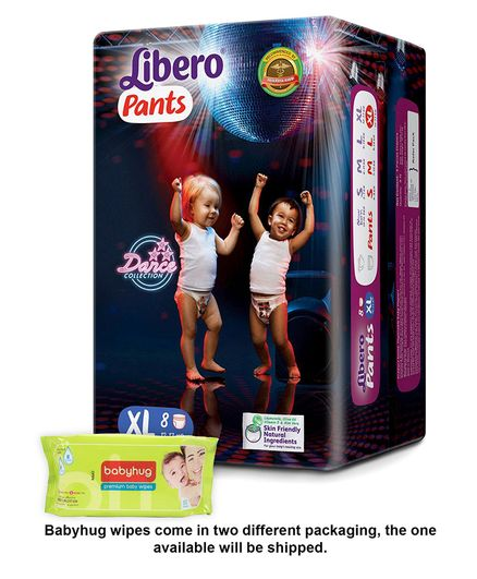 Libero Pant Style Diapers Extra Large - 8 Pieces & Babyhug Premium Baby Wipes - 80 Pieces