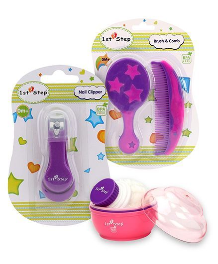 1st Step Brush And Comb Set - Lavender And Pink	AND 1st Step Nail Clipper - Purple AND 1st Step Powder Puff with Container - Pink