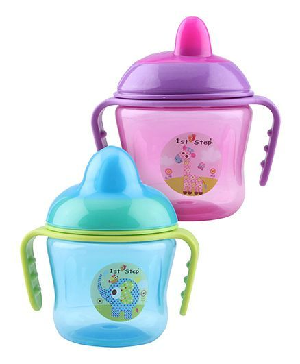 1st Step Two Handle Non Spill Sipper Cup - Pack of 2 (Blue, Pink)