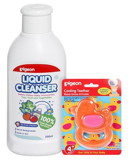 Pigeon - Bottle Nipple and Vegetable Liquid Cleanser 200 ml AND Pigeon - Cooling Teether