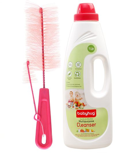 Babyhug Liquid Multi Purpose Cleanser - 1000 ml AND Morison Baby Dreams - Sparkle Brush Pink