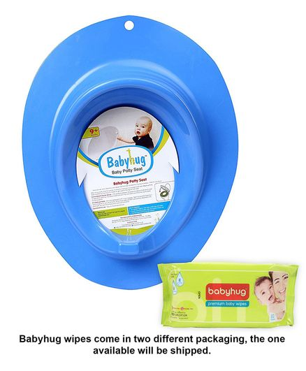 Babyhug Premium Baby Wipes - 80 Pieces AND Babyhug Potty Trainer - Blue