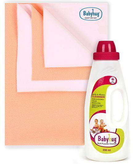 Babyhug Smart Dry Bed Protecting Sheet Pink - Small AND Babyhug Liquid Multi Purpose Cleanser - 550 ml