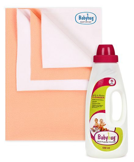 Babyhug Smart Dry Bed Protecting Sheet Peach - Small AND Babyhug Liquid Multi Purpose Cleanser - 550 ml