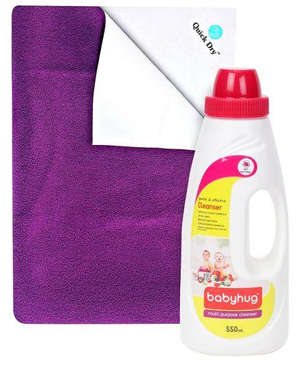 Quick Dry Bed Protector Mat Plum - Medium AND Babyhug Liquid Multi Purpose Cleanser - 550 ml