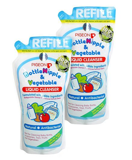 Pigeon Bottle Nipple and Vegetable Liquid Cleanser Refill Pack - 700 ml (Pack of two)