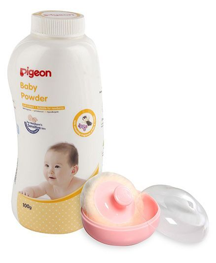 Pigeon Powder Case With Puff - Pink AND Pigeon Baby Powder With Fragrance - 100 gm
