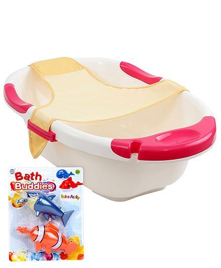 Baby Bath Buddies Fish Shape Toy - Pack Of 2 AND Farlin Dual Color Bath Tub With Net - Off White